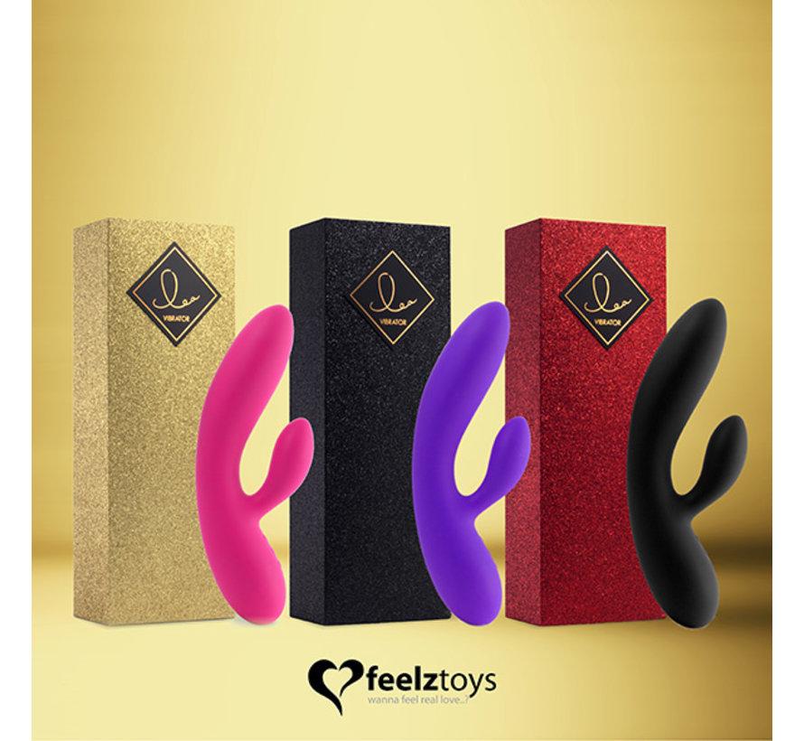 FeelzToys - Lea Rabbit Vibrator Robijn Rood (Glitter)
