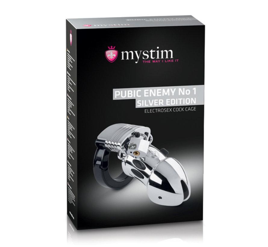 Mystim - Pubic Enemy No 1 Cock Cage Zilveren Editie