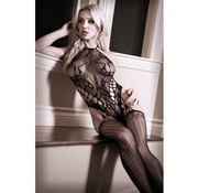 Sheer Fantasy Lace Halter Catsuit - Black