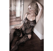 Sheer Fantasy Lace Catsuit With Open Crotch - Black