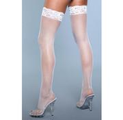Kiss Goodnight Thigh High Stockings - White