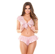 Tease 2-Piece Set With Lace Top - Pink