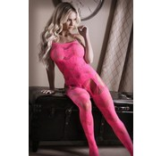 Sheer Fantasy To The Moon Jarretel Catsuit - Neon Pink