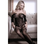 Sheer Fantasy Dark Heart Off-Shoulder Suspender Catsuit