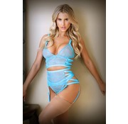Tease Keira Criss Cross 3-Delige Jarretelset - Electric Blue