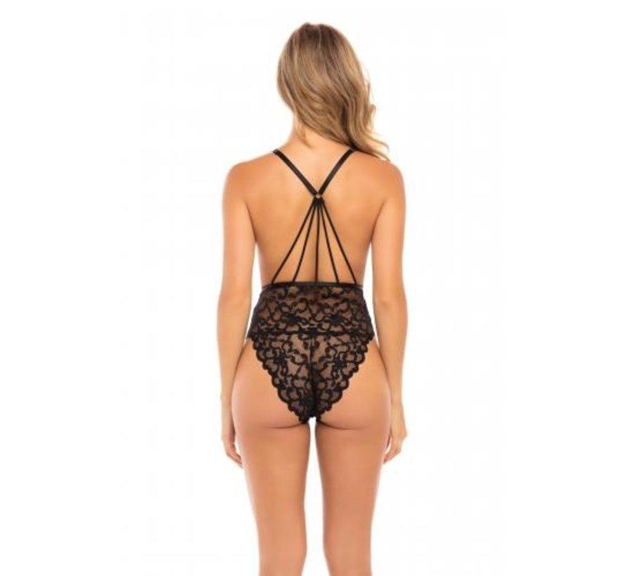 Kanten Body Met Sexy Achterkant - Zwart
