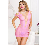 Music Legs Spandex lace and net with shredded strap dress  NEON PINK