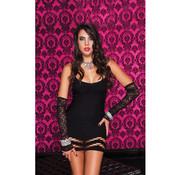 Music Legs Mini dress with lower section net pattern BLACK