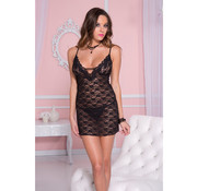 Music Legs Lace dress with back criss cross details BLACK