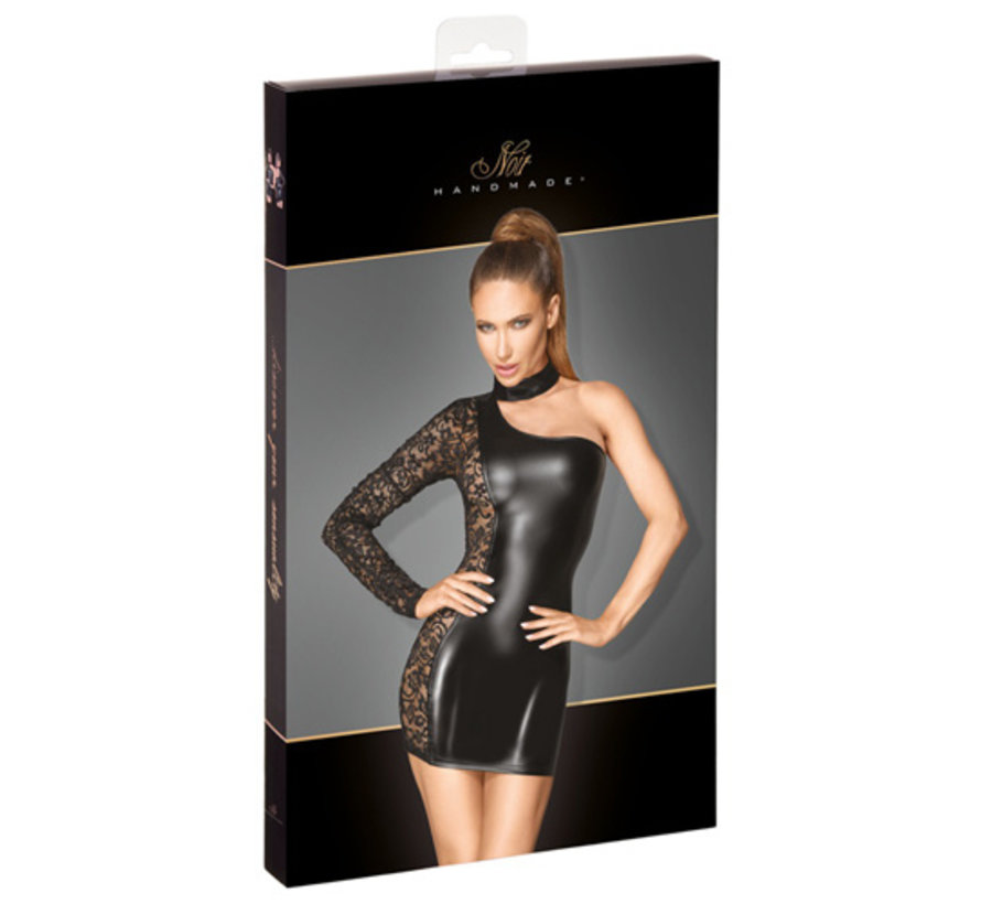 One-Shoulder Wetlook Dress With Lace