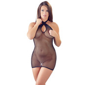 Mandy mystery Line Fishnet Mini Dress With Crossed Halterneck