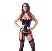 Black Level Strapless Lak Korset Met Jarretels
