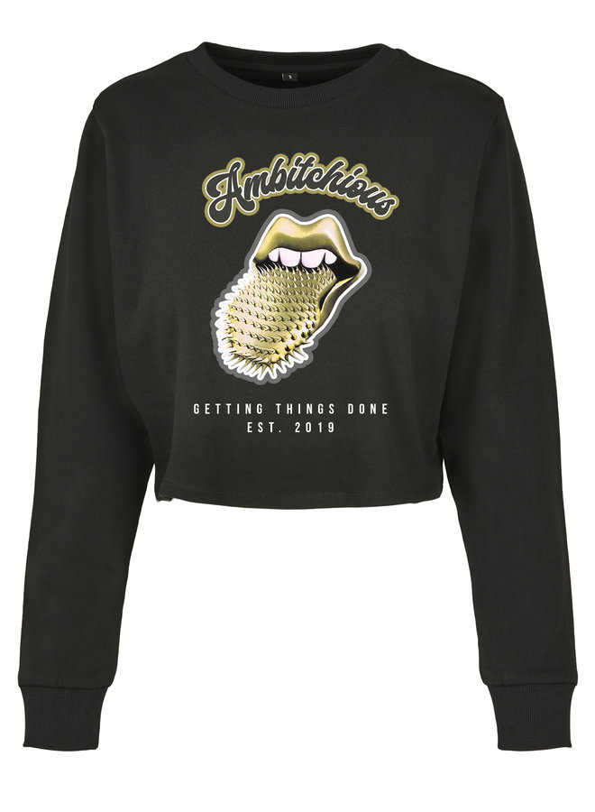 Ambitchious gold cropped sweater