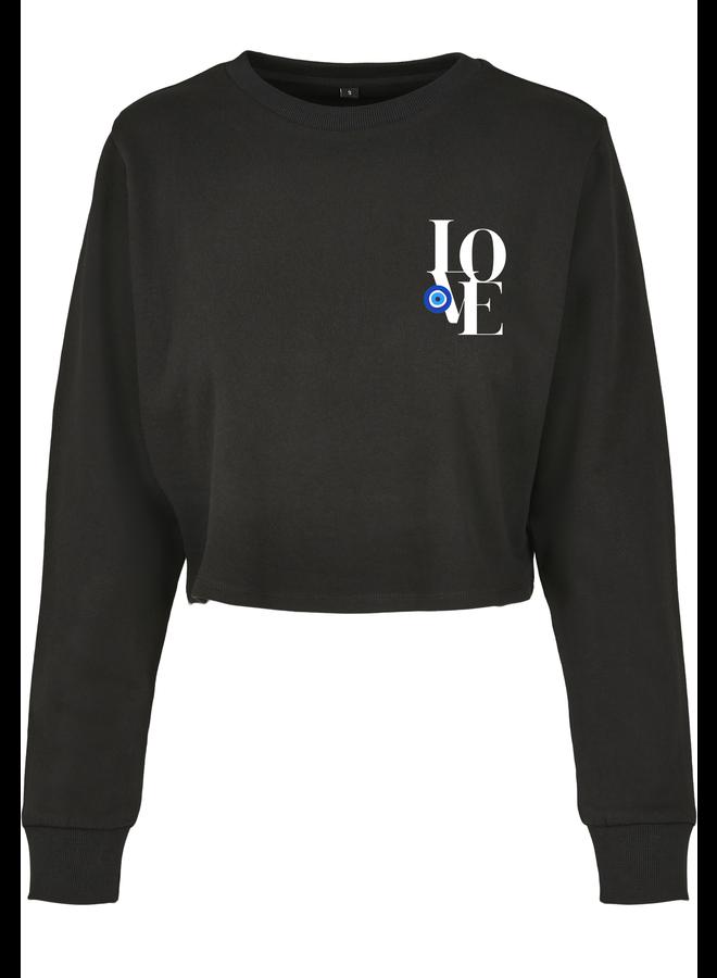 Love eye cropped sweater