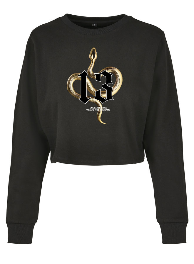 Gold snake cropped sweater