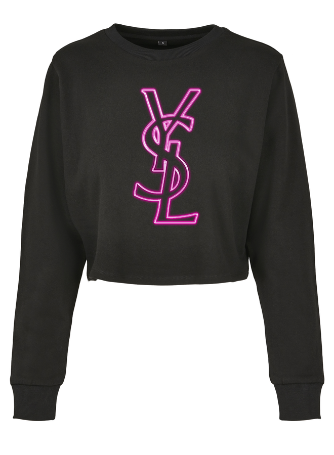 Neon sign cropped sweater