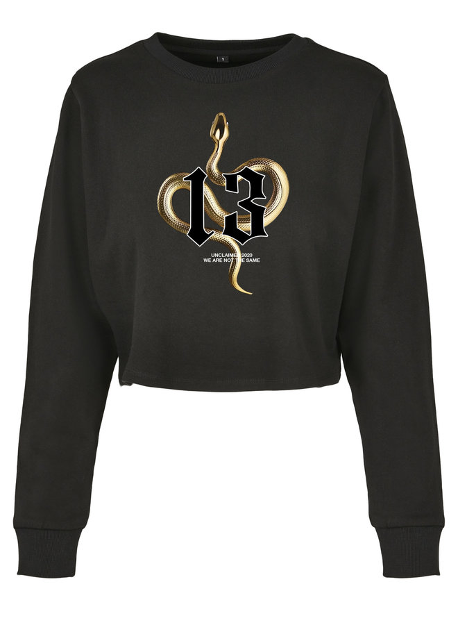 SALE - Gold Snake Cropped Sweater Black S