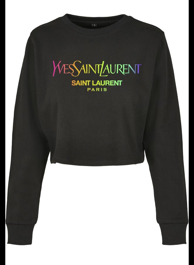 SALE - Sainty Rainbow Cropped Sweater Black S