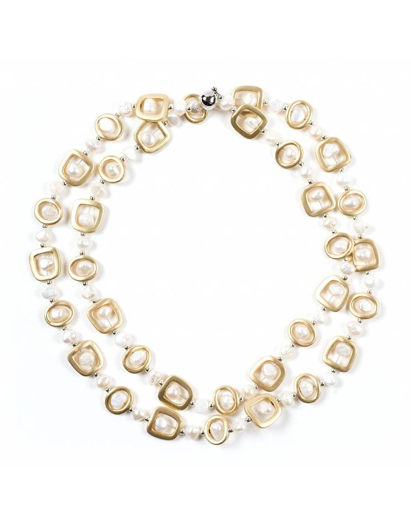 Necklace with Freshwater Pearls Gold Long