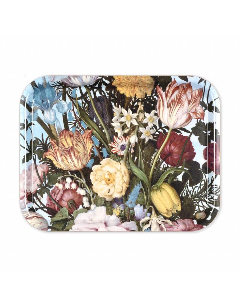 Dienblad Vaas met Bloemen in een Venster