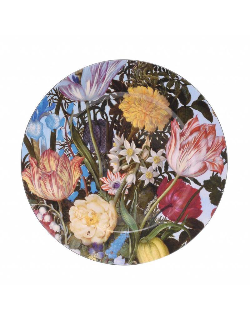 Onderbord Vaas met Bloemen in een Venster