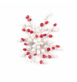 Brooch with Freshwater Pearls Red Stones