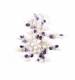 Brooch with Freshwater Pearls Amethyst