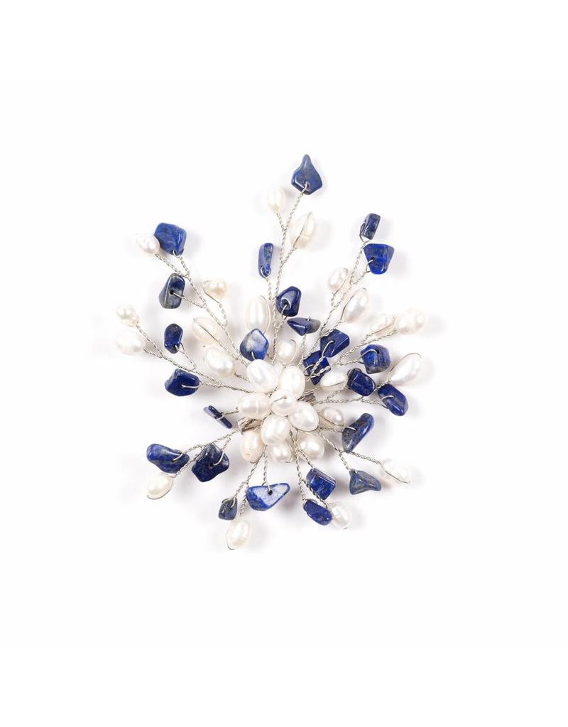 Brooch with Freshwater Pearls Lapis Lazuli