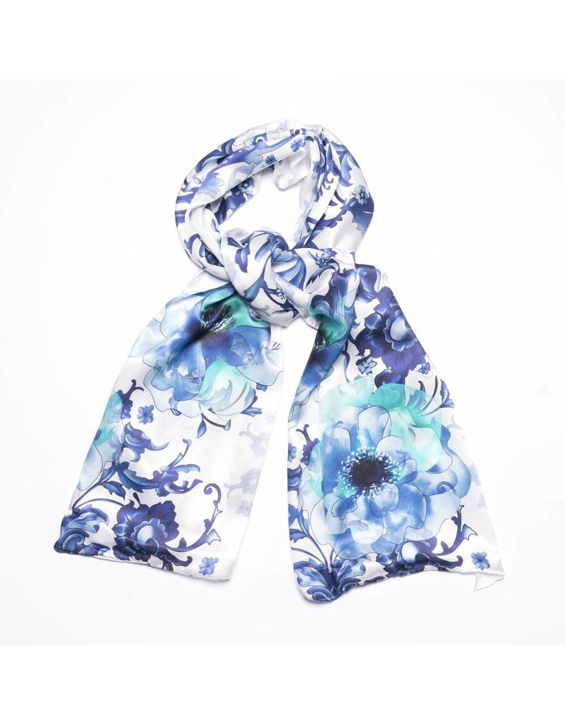 Shawl Delft Blue Flowers