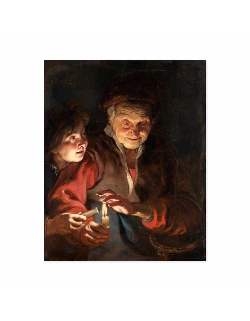 Poster Old Woman and Boy with Candles