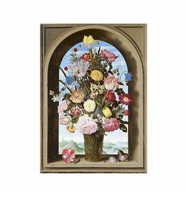 Poster Vaas met bloemen in een venster