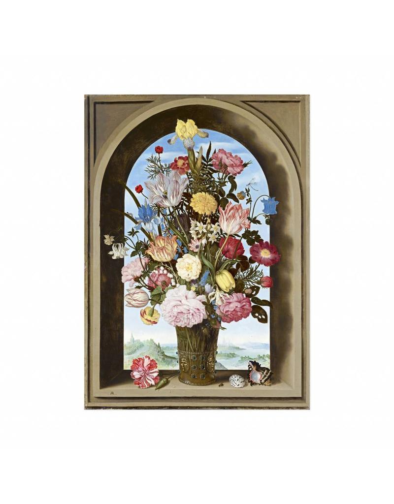 Poster Vaas met bloemen in een venster van Ambrosius Bosschaert
