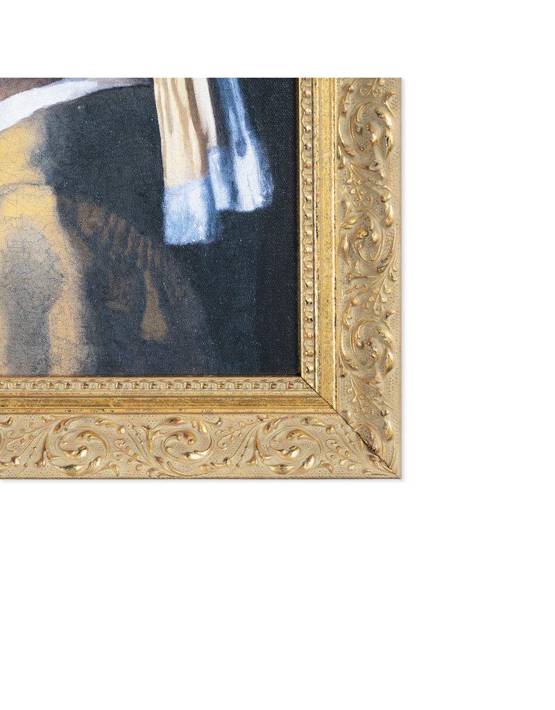 Reproductie Meisje met de parel op canvas met gouden lijst