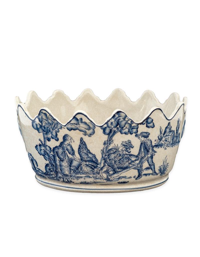 Cache pot blue white garden scene