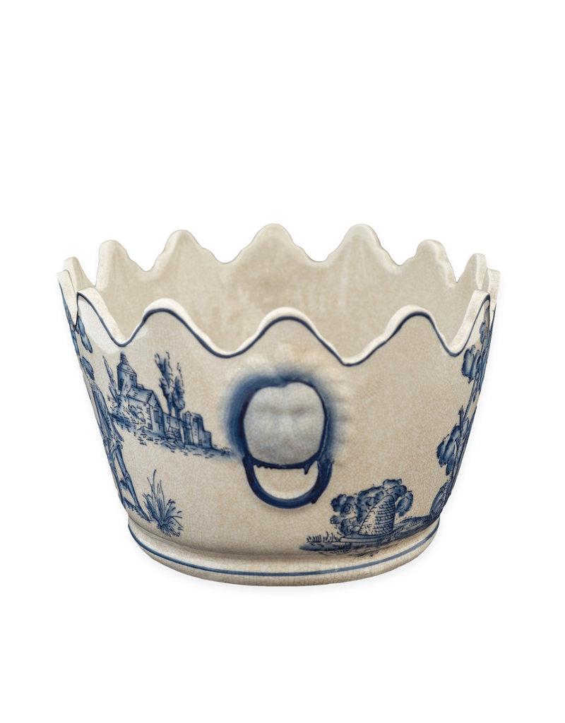 Cache-pot blauw wit tuintafereel