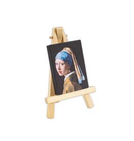 Canvas magneet met esel Meisje met de parel