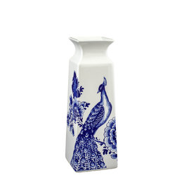 Vase square flowers Delft blue