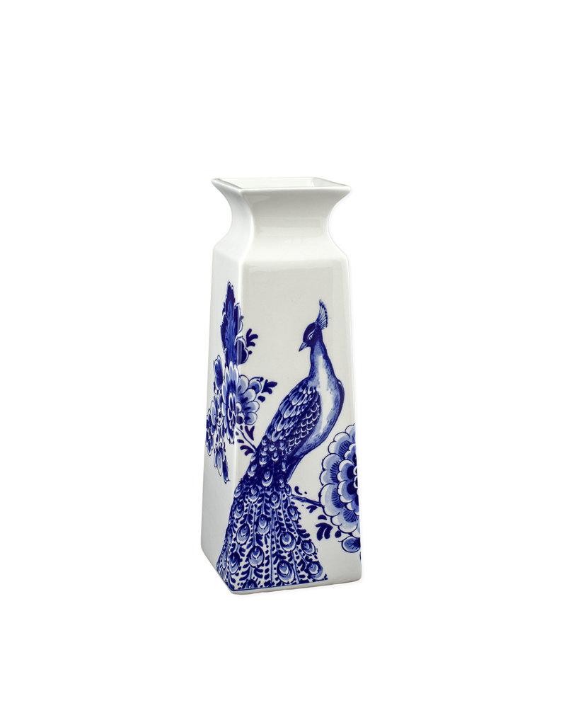 Vaas vierkant bloemen Delftsblauw