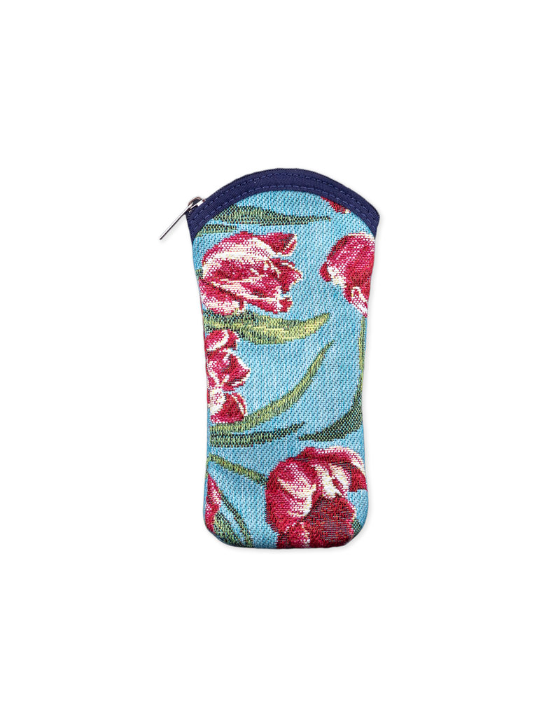 Glasses Case Tulips turquoise