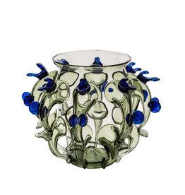 Vase glass spines blue