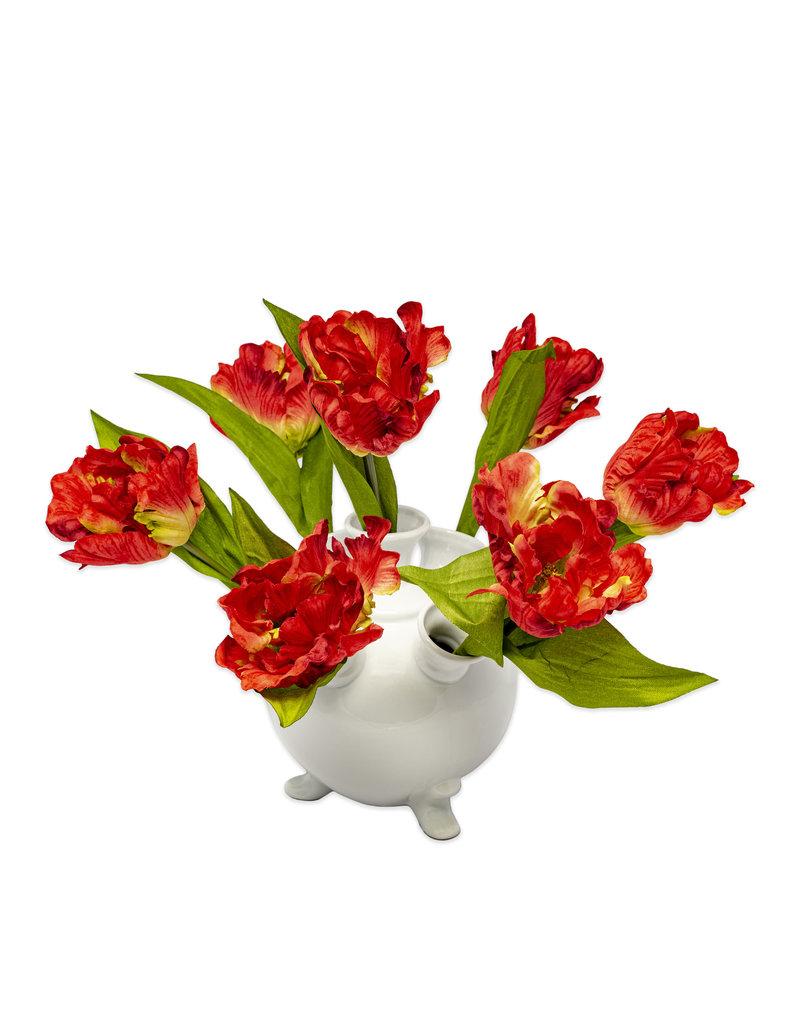 Tulip vase white round small