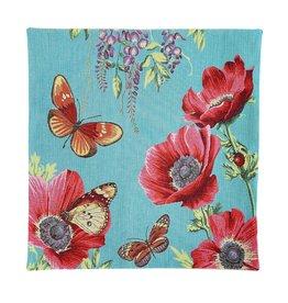 Kussenhoes klaprozen en vlinder