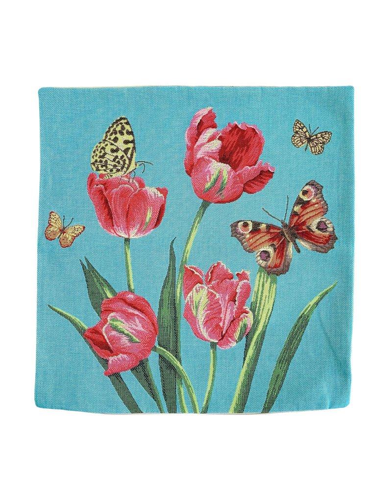 Kussenhoes Tulpen en vlinders
