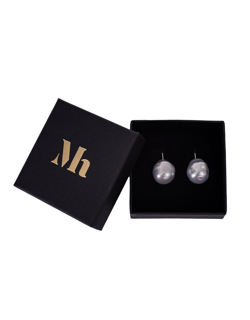 Baroque Earrings Antracite Grey  silver hooks (medium)