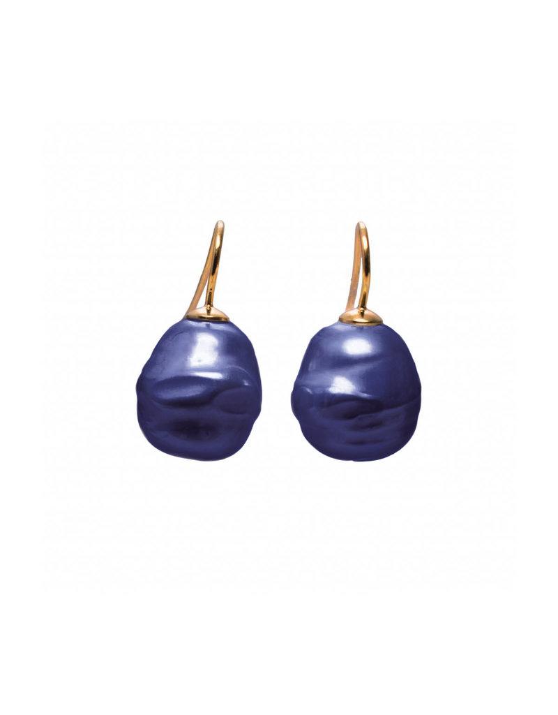 Barok oorbellen blauw (klein) goudkleurige haakjes