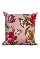 Cushion cover Tulips and butterflies - Pink