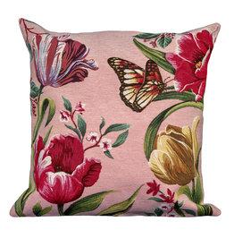 Kussenhoes Tulpen  en vlinders - Roze