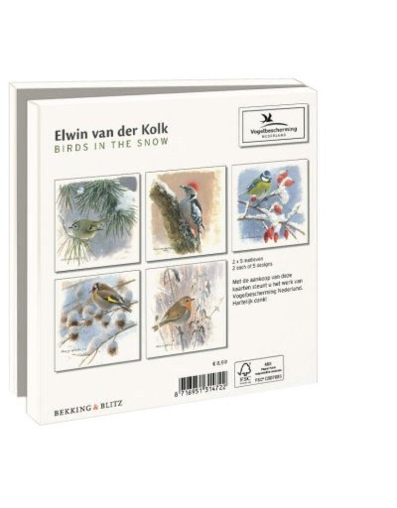 Kaartenmapje Birds in the Snow, Elwin van der Kolk, Vogelbescherming Nederland