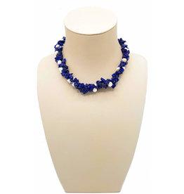 Necklace cobalt blue pearl