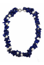 Necklace  cobalt blue pearl